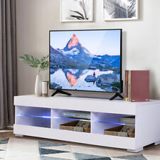 57'' TV Stand White Cabinet w/LED Light Entertainment Center for TV's Up to 65''