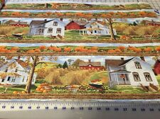 """Bring in the Harvest Country Farm Linear quilters cotton Fabric by yard 44"""""""