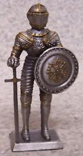 "Figurine Medieval Knight Armor French with Sword NEW pewter 4"" with gift box"