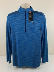Under Armour 1/4 Zip Heather Blue Fitted Shirt Mens Size Medium L/S MSRP $55 NEW