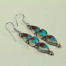 New Arrival Beautiful Finework Turquoise & Red Coral Tibetan Earring NE-7183