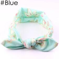 Lovely Baby Infant Turban Rabbit Ears Headband Flower Hairband Bowknot Head Wrap Blue