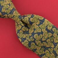 Hermes Paris Tie Luxury Flower/Leaves Classic Khaki Blue Necktie Silk Ties L1