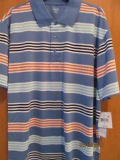 Men's Size Xl~Medium Blue w/multi-color stripes Polo Golf Shirt~New withTags