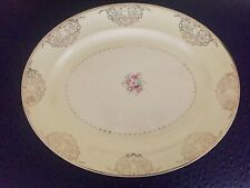 Vintage Paden City Pottery Gold Filigree Floral Turkey Oval Serving Platter USA