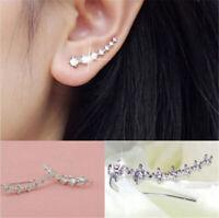 Damen Ohrringe Ohrklemme Cartilage Climber Crawler Silber Farbe Zirkonia Kristal