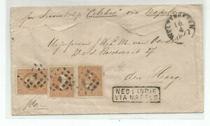 Neth indies classical cover  franked wit three 10 ct stamps, via NaPLES 1877