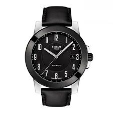 New Tissot Gentleman Automatic Mens Black  Leather Strap Watch T0984072605200