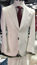 White 2 button summer linen suit with wide peak lapel-made in Italy