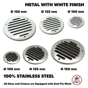 Flat Round Air Vent Grill Metal Cover Circle Ducting Ventilation ⌀100 125 150 mm