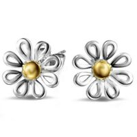 1X(Women's Flower Daisy Sterling Silver Ear Stud Earrings 1 Pair G6O9)