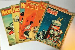 LE JOURNAL DE MICKEY 6 numéros 1956 et 1957 TBE BD ancienne DISNEY + N° 10 1934