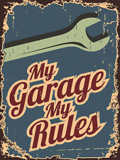 My Garage My Rules, Retro metal Sign Novelty Gift, Man Cave, Tool Shed