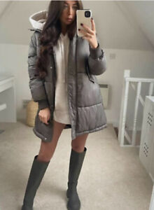 Zara Mink Water Repellent Puffer Coat Size XS BNWT