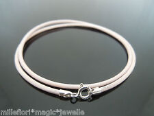 """2mm Pale Pink Leather & Sterling Silver Necklace Or Wristband 16"""" 18"""" 20"""" 22"""""""