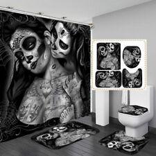 Gothic Tattoo Girl Black Shower Curtain BathMat Toilet Cover Rug Bathroom Decor
