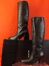NIB HELMUT LANG SCHIST BLACK LEATHER STRAPPY CHUNKY HEEL TALL BOOTS 40 $795
