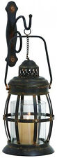 Vintage Metal Glass Wall Sconce Lantern Caged Hanging Candle Holder Home Decor
