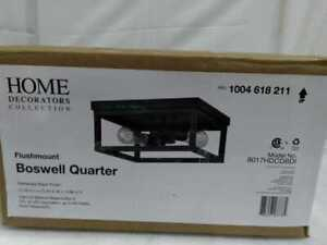 Boswell Quarter 12.5 in. 2-Light Distressed Black Flush Mount by Home Decorators
