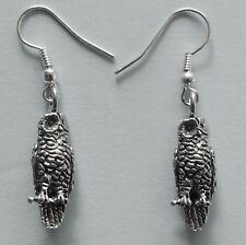Earrings #235 Pewter WISE OWL (22mm x 18mm) Silver Tone Bird Animal Series