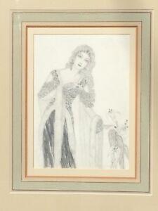 Fine Art Deco European Pencil Portrait Woman Drawing Signed Dated 1932 Antique
