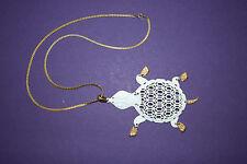 Vtg Big White Enamel Open Metal Turtle Pendant With Gold Tone Chain, Feet &Tail
