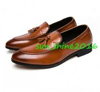 Fashion Mens Leather Formal Dress Loafers Dress Shoes Tassel Oxfords Slip On