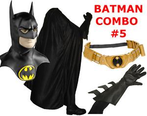 Batman Returns Keaton 1992 costume cowl mask, cape, gloves, Begins TDK belt