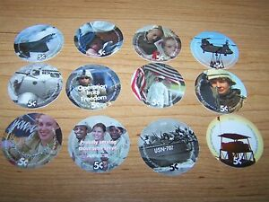 4th Print Set 5 Cent AAFES  Pogs 2004 printing  About Uncir. Military Tokens