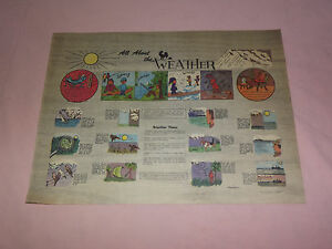 """VINTAGE  14"""" X 11"""" PAPER PLACEMAT ALL ABOUT THE WEATHER"""