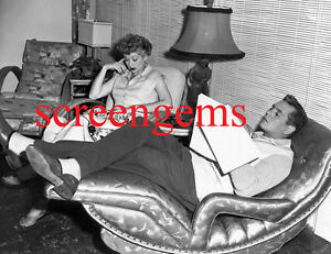 """Lucille Ball Desi Arnaz RARE photo rehearse """"I Love Lucy"""" scene at home mint"""