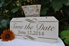 Save The Date Engagement Sign: Elegant Hand Painted And Laser Etched.