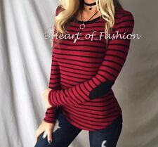 Basic Striped Long Sleeve Elbow Patch Stretch Round Hem Fashion Sweater Top
