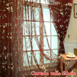 Lily Floral Embroidery Tulle Fabric for Curtains Lace Window Drapes By Metre DIY