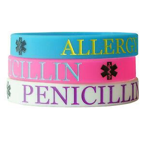 PENICILLIN ALLERGY MEDICAL wristband silicone bracelet bangle gift AWARENESS