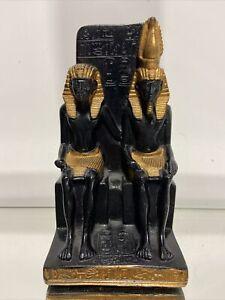 """Egyptian Gold/Black Statue Egypt God Goddess Throne Chair 7"""""""
