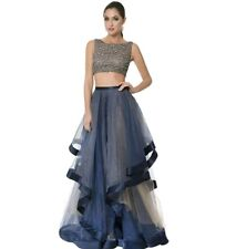 Terani Couture 0986 Crystal Prom Crop Top Dress Gown