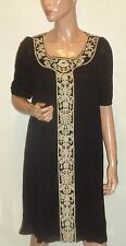 LAUNDRY BY DESIGN BLACK IVORY EMBROIDERED PLEATED 100% SILK DRESS NWT $345 SZ 10
