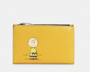 Coach X Peanuts Slim Bifold Card Wallet With Charlie Brown C4307 NWT