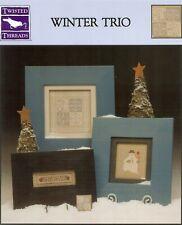 Winter Trio Snowman Cross Stitch Pattern Leaflet Book Framed Twisted Threads