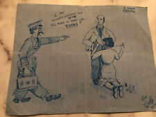 Original Pen & Ink Sketch By Kent Artist Geoff King 1950's, Signed Cartoon