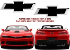 Gloss Black Vinyl Bowtie Overlays For 2015-2018 Chevrolet Camaro New Free Ship