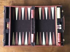 Vintage Aries of Beverly Hills Brown Suede/Felted Travel Case Backgammon Set