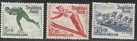 Stamp Germany Mi 600-2 Sc B79-81 1936 War Fascism Winter Olympics Skater MNH