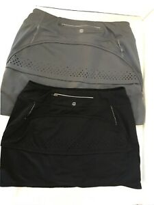 Tangerine Womens Activewear Lot Of 2 Skorts Black Gray Small Skirts with Shorts