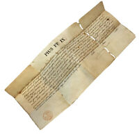 RARE Pope Pius IX Sealed Document Bulla 1854 Catholic Church Manuscript Vatican