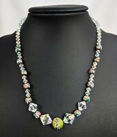 Green Venetian Wedding Cake Lampwork Glass Aurora Borealis Crystal Necklace