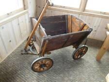 "Vintage 9 1//2/"" Wheel Cart Buggy Wagon Trailer Metal Rubber Goat Dog Ivory   F"