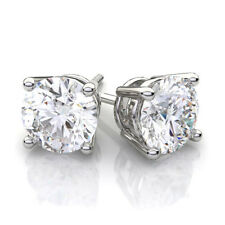 CERTIFIED .80ct F/VS2 ROUND-CUT GENUINE DIAMONDS IN 14K GOLD STUDS EARRINGS