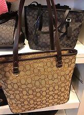 NWT Coach Outline Signature Zip Top Tote Handbag F58282 - Khaki Brown
